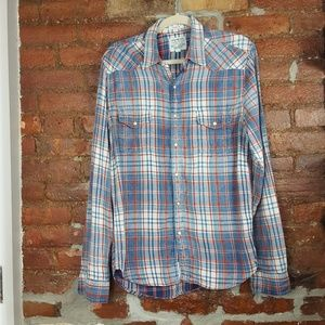 Lucky Brand Flannel Button Down Shirt Size S